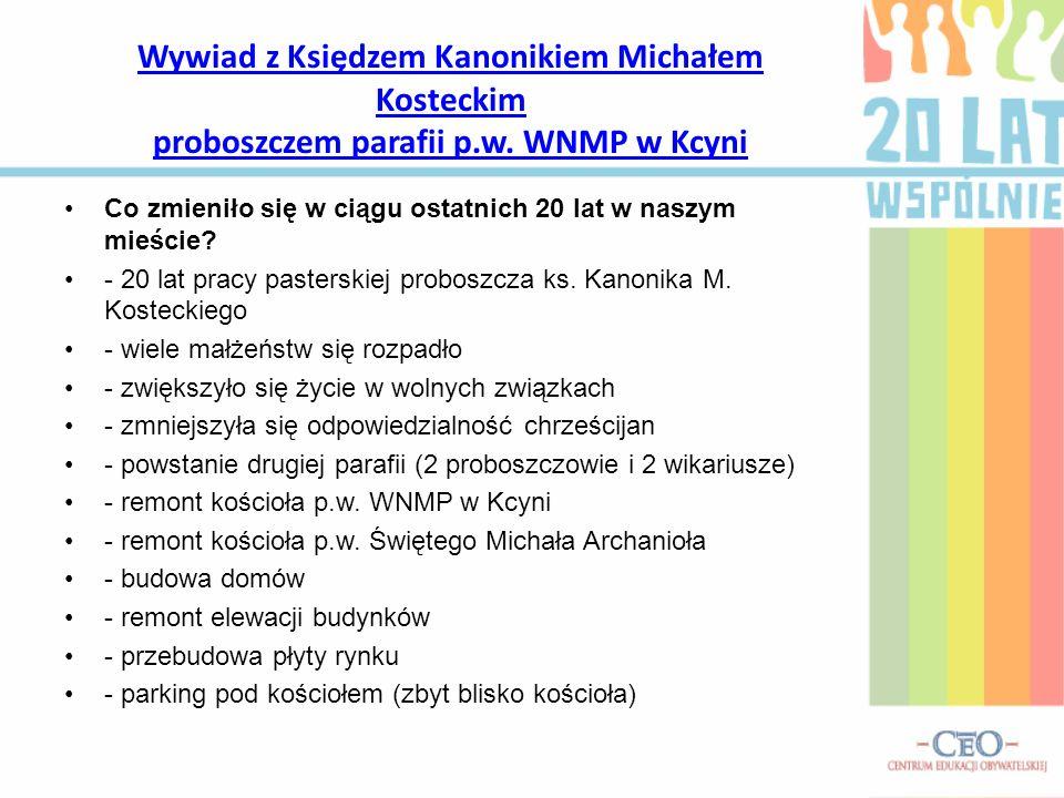 Wywiad z Księdzem Kanonikiem Michałem Kosteckim proboszczem parafii p