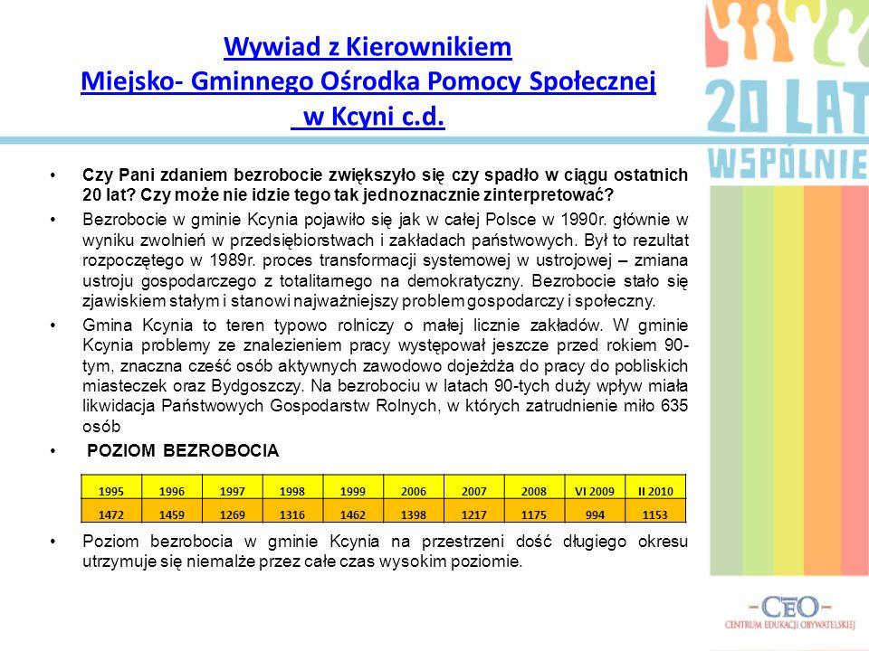 Wywiad z Kierownikiem Miejsko- Gminnego Ośrodka Pomocy Społecznej w Kcyni c.d.