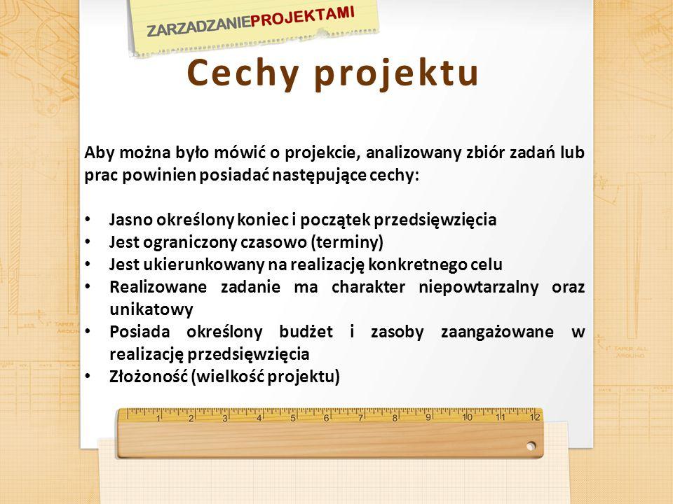 Cechy projektu Aby można było mówić o projekcie, analizowany zbiór zadań lub prac powinien posiadać następujące cechy: