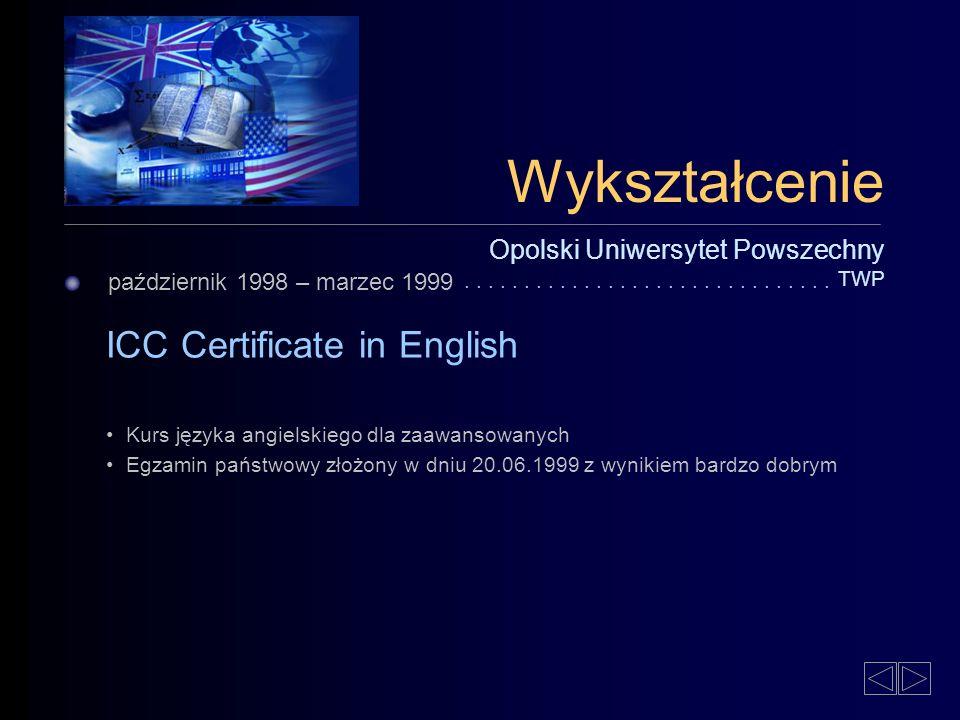 Wykształcenie ICC Certificate in English