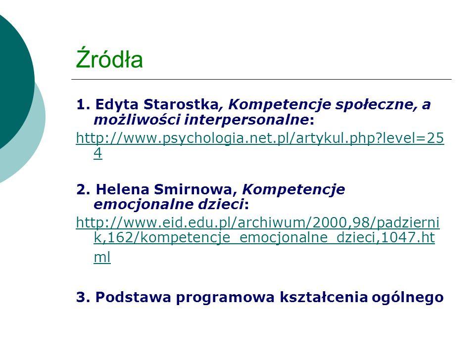 Źródła 1. Edyta Starostka, Kompetencje społeczne, a możliwości interpersonalne: http://www.psychologia.net.pl/artykul.php level=254.