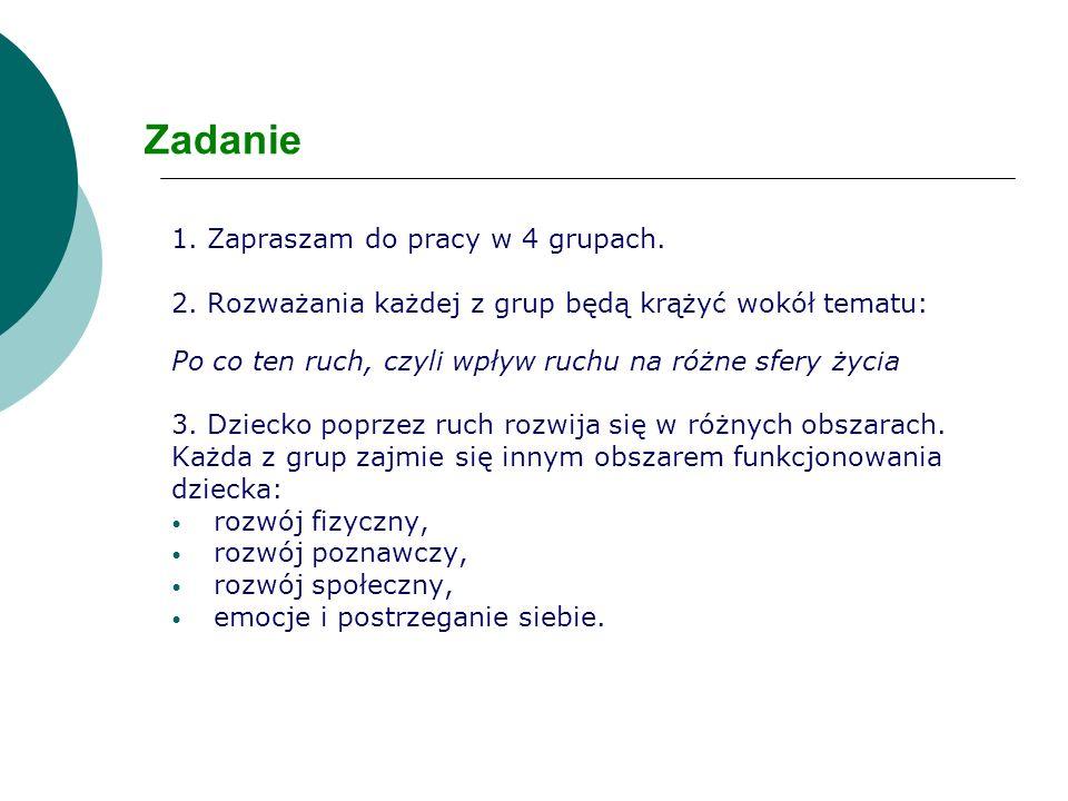 Zadanie 1. Zapraszam do pracy w 4 grupach.