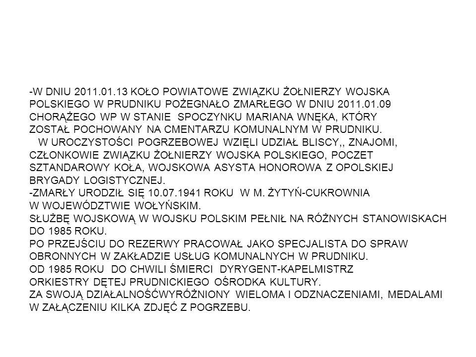 -W DNIU 2011.01.13 KOŁO POWIATOWE ZWIĄZKU ŻOŁNIERZY WOJSKA