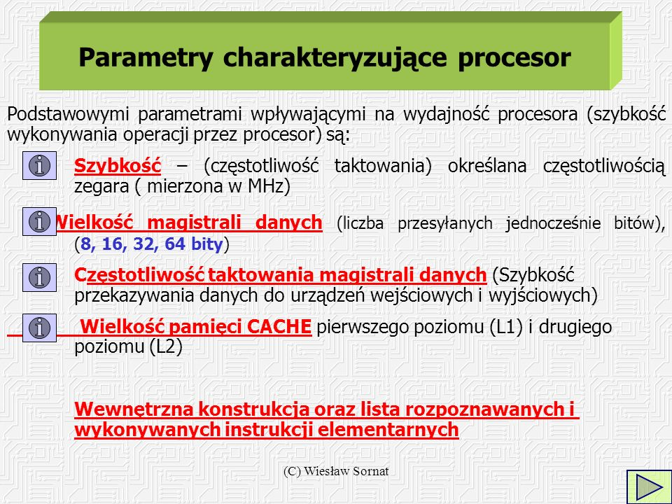 Parametry charakteryzujące procesor