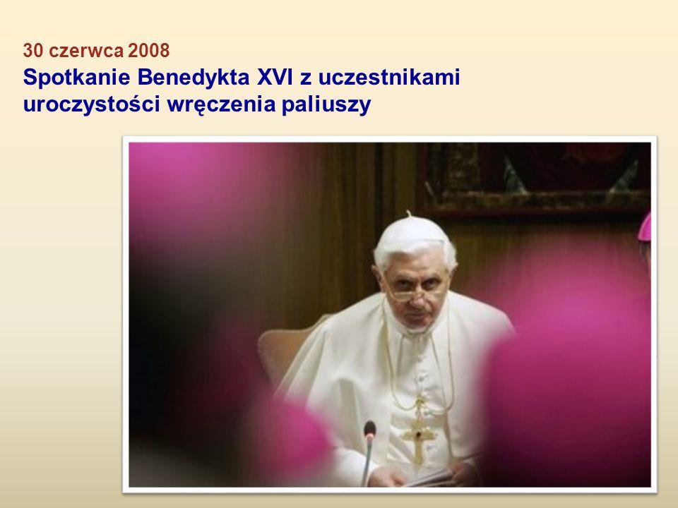 Spotkanie Benedykta XVI z uczestnikami uroczystości wręczenia paliuszy