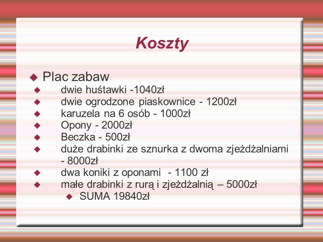 Koszty Plac zabaw dwie huśtawki -1040zł
