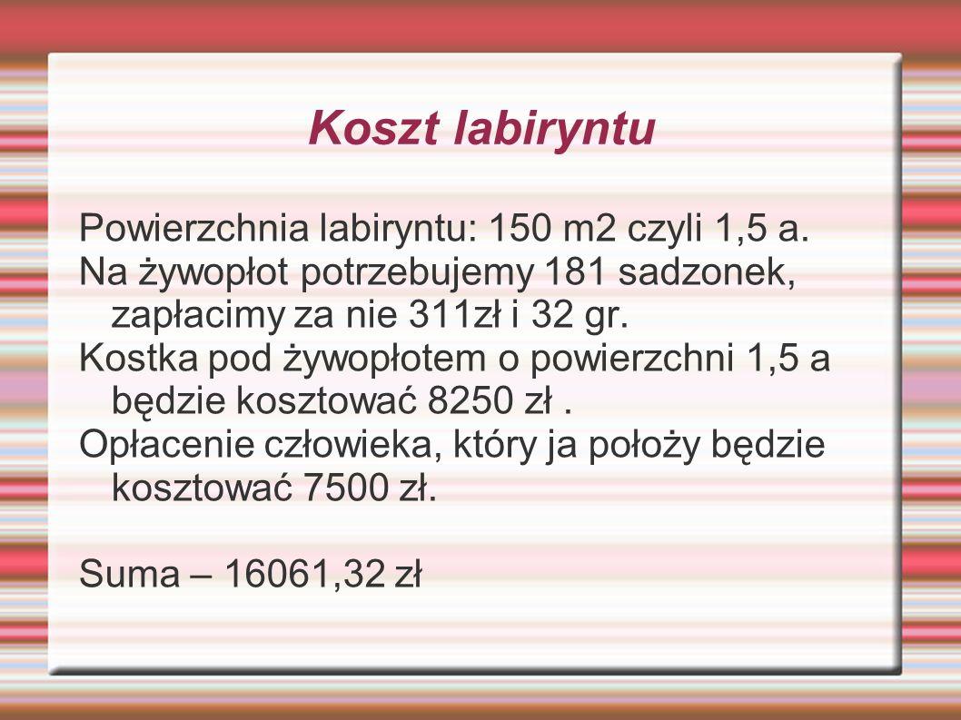 Koszt labiryntu Powierzchnia labiryntu: 150 m2 czyli 1,5 a.