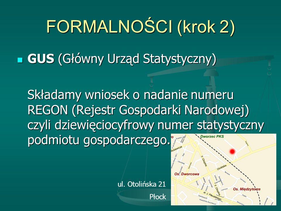 FORMALNOŚCI (krok 2) GUS (Główny Urząd Statystyczny)