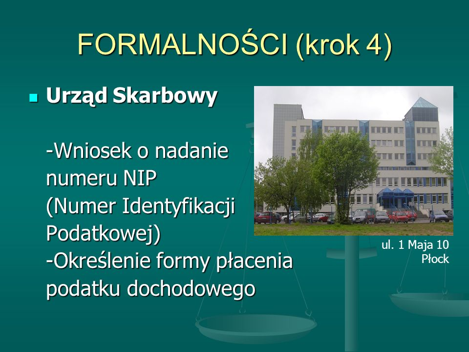 FORMALNOŚCI (krok 4) Urząd Skarbowy -Wniosek o nadanie numeru NIP