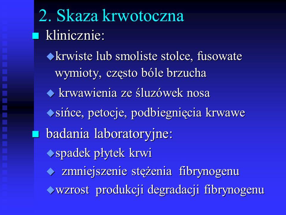 2. Skaza krwotoczna klinicznie: badania laboratoryjne: