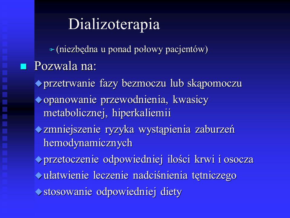 Dializoterapia Pozwala na: przetrwanie fazy bezmoczu lub skąpomoczu