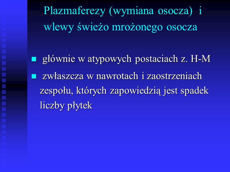 Plazmaferezy (wymiana osocza) i wlewy świeżo mrożonego osocza