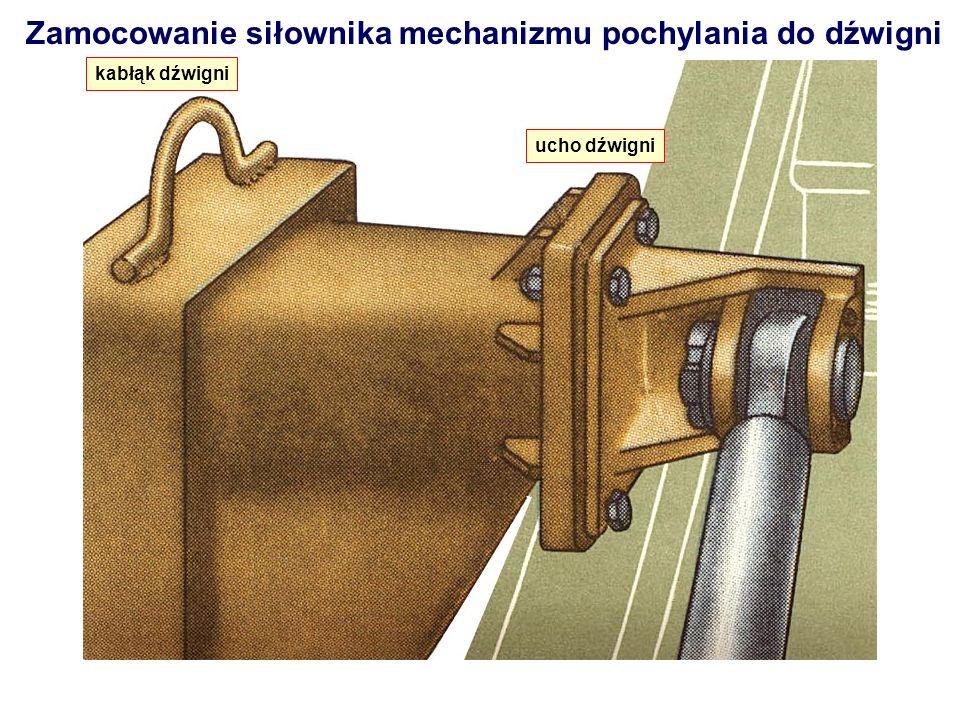 Zamocowanie siłownika mechanizmu pochylania do dźwigni