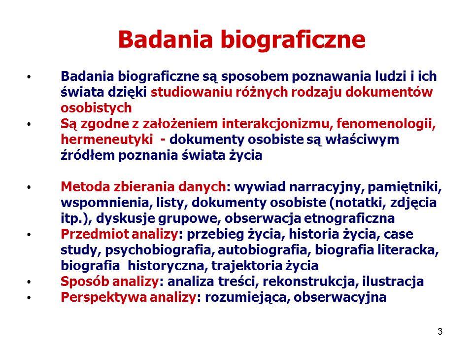 Badania biograficzne Badania biograficzne są sposobem poznawania ludzi i ich świata dzięki studiowaniu różnych rodzaju dokumentów osobistych.