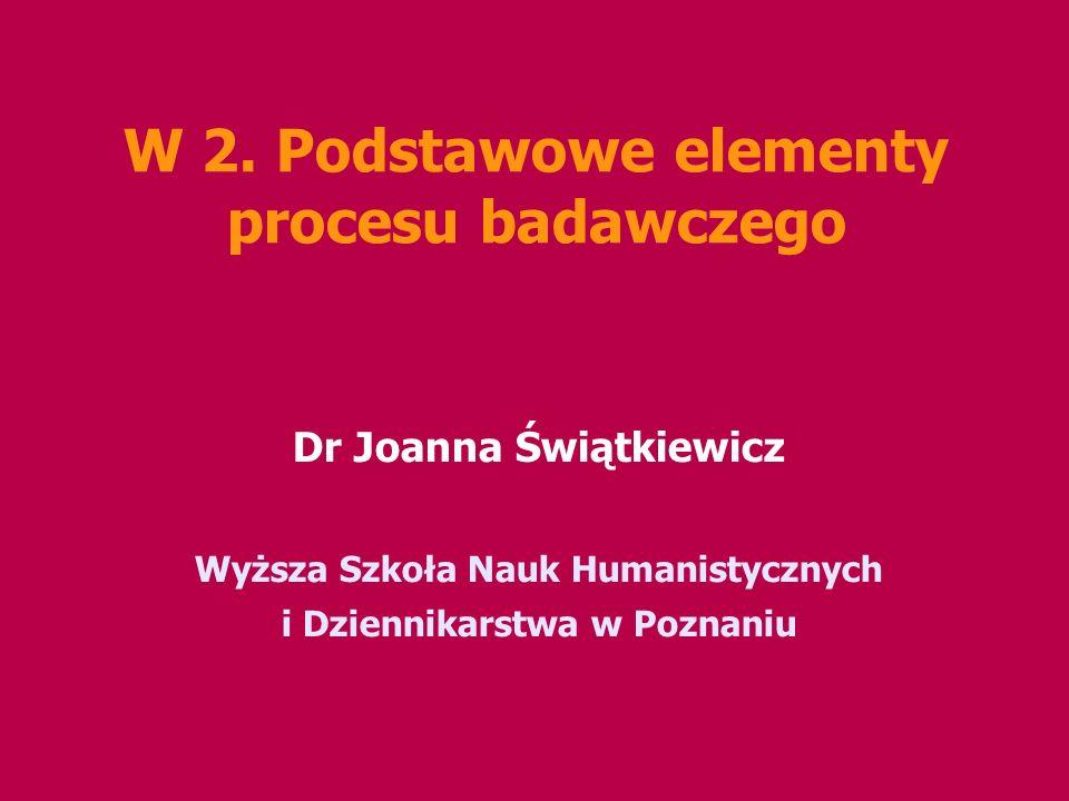 W 2. Podstawowe elementy procesu badawczego
