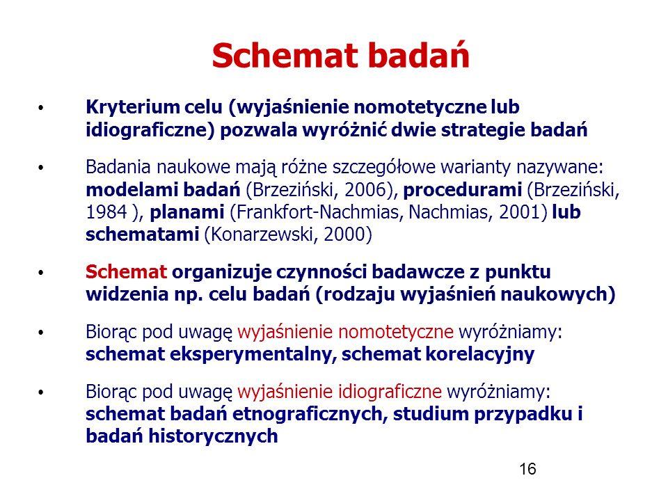 Schemat badań Kryterium celu (wyjaśnienie nomotetyczne lub idiograficzne) pozwala wyróżnić dwie strategie badań.