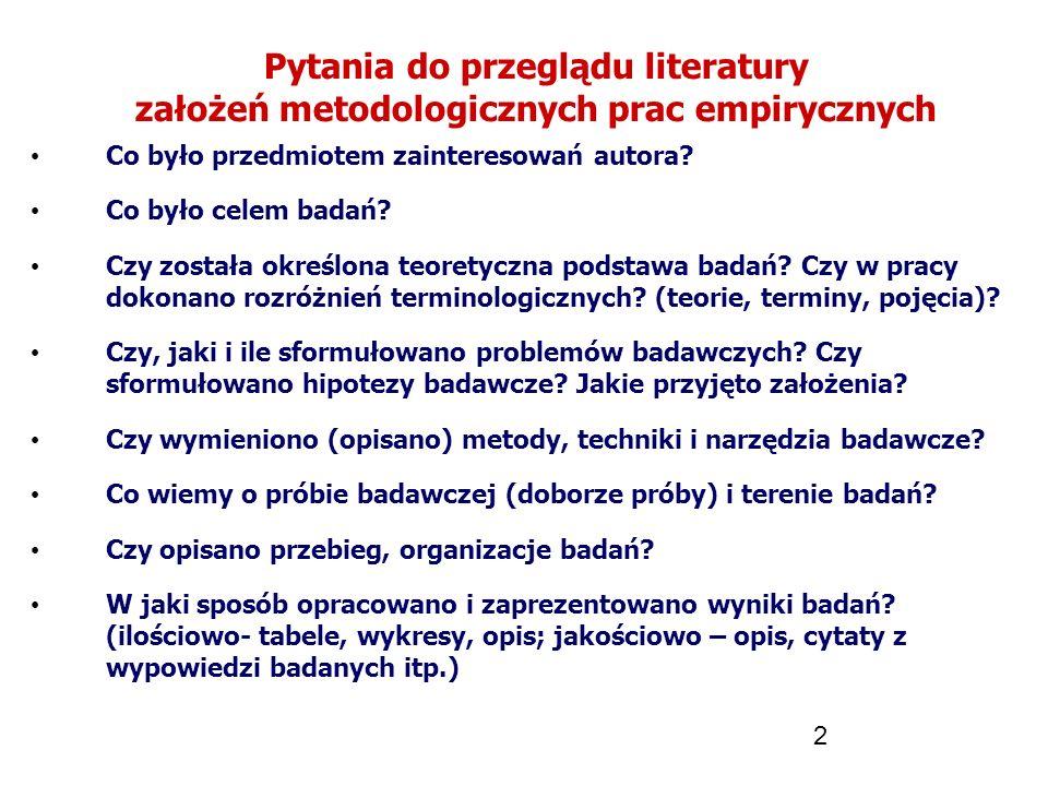 Pytania do przeglądu literatury założeń metodologicznych prac empirycznych