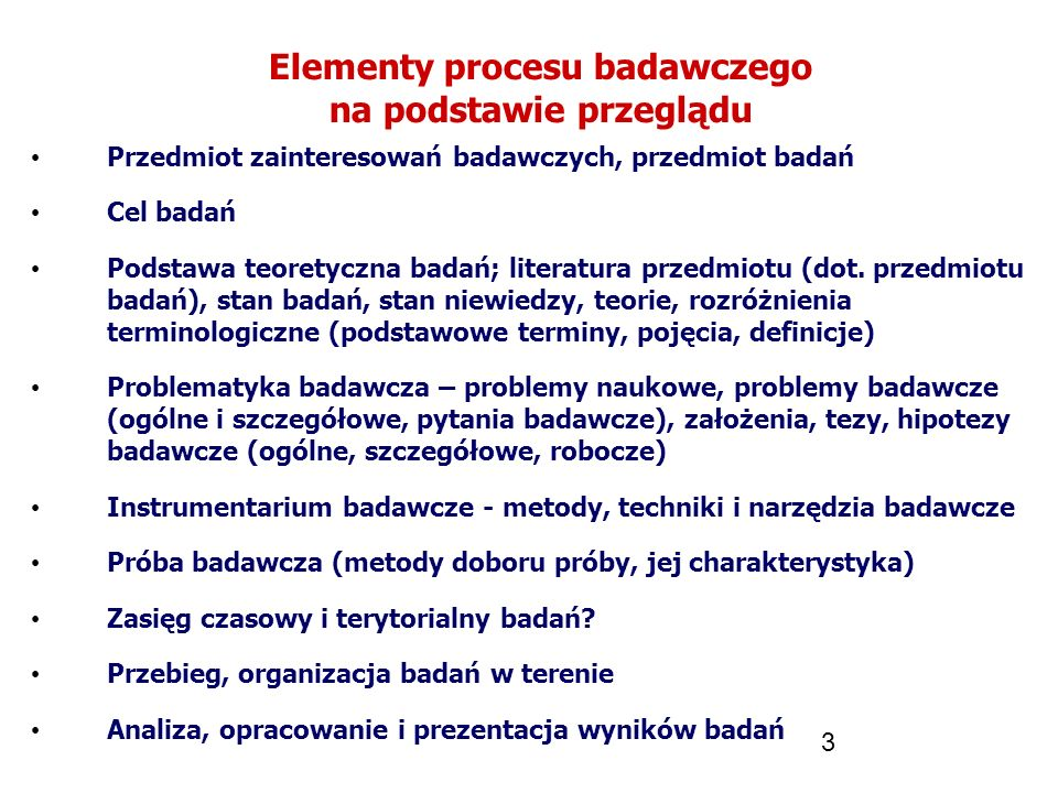 Elementy procesu badawczego na podstawie przeglądu