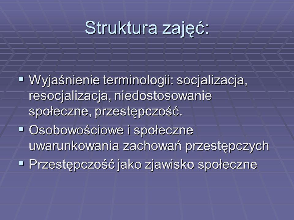 Struktura zajęć:Wyjaśnienie terminologii: socjalizacja, resocjalizacja, niedostosowanie społeczne, przestępczość.