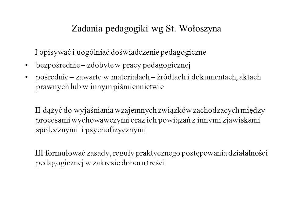 Zadania pedagogiki wg St. Wołoszyna