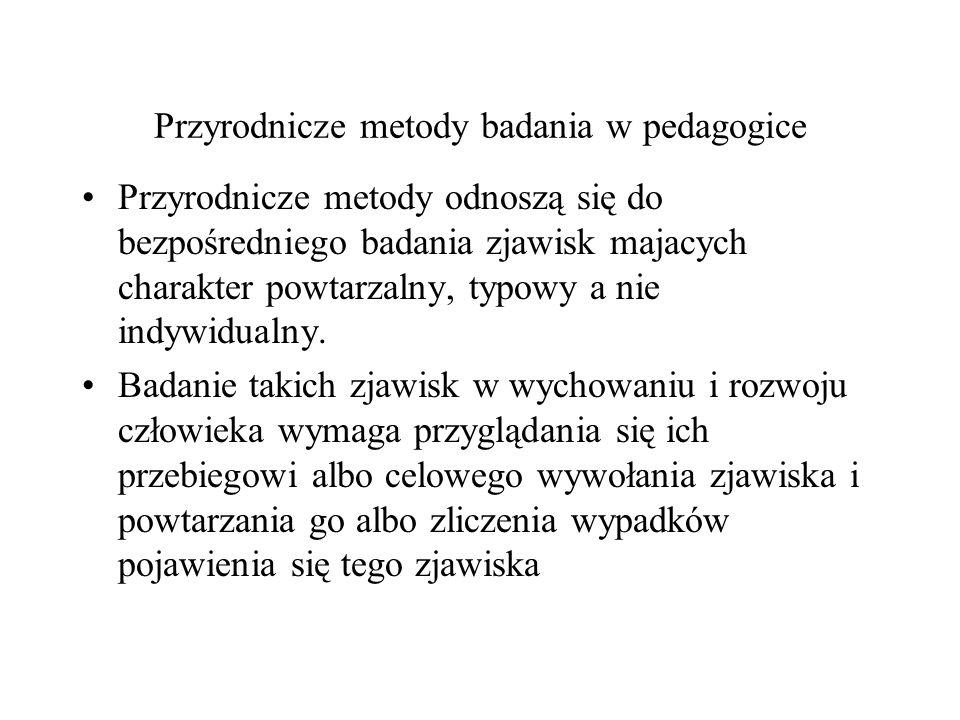 Przyrodnicze metody badania w pedagogice