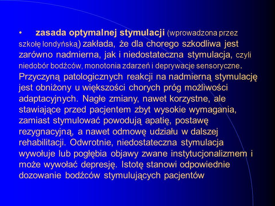 zasada optymalnej stymulacji (wprowadzona przez szkołę londyńską) zakłada, że dla chorego szkodliwa jest zarówno nadmierna, jak i niedostateczna stymulacja, czyli niedobór bodźców, monotonia zdarzeń i deprywacje sensoryczne.