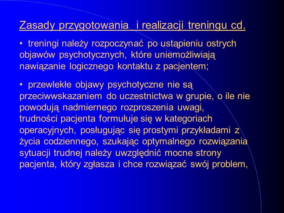 Zasady przygotowania i realizacji treningu cd.