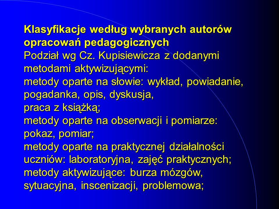Klasyfikacje według wybranych autorów opracowań pedagogicznych Podział wg Cz.