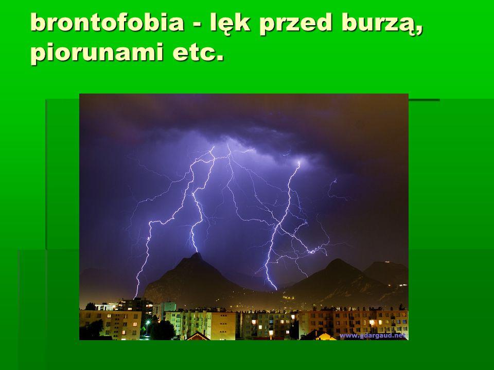 brontofobia - lęk przed burzą, piorunami etc.
