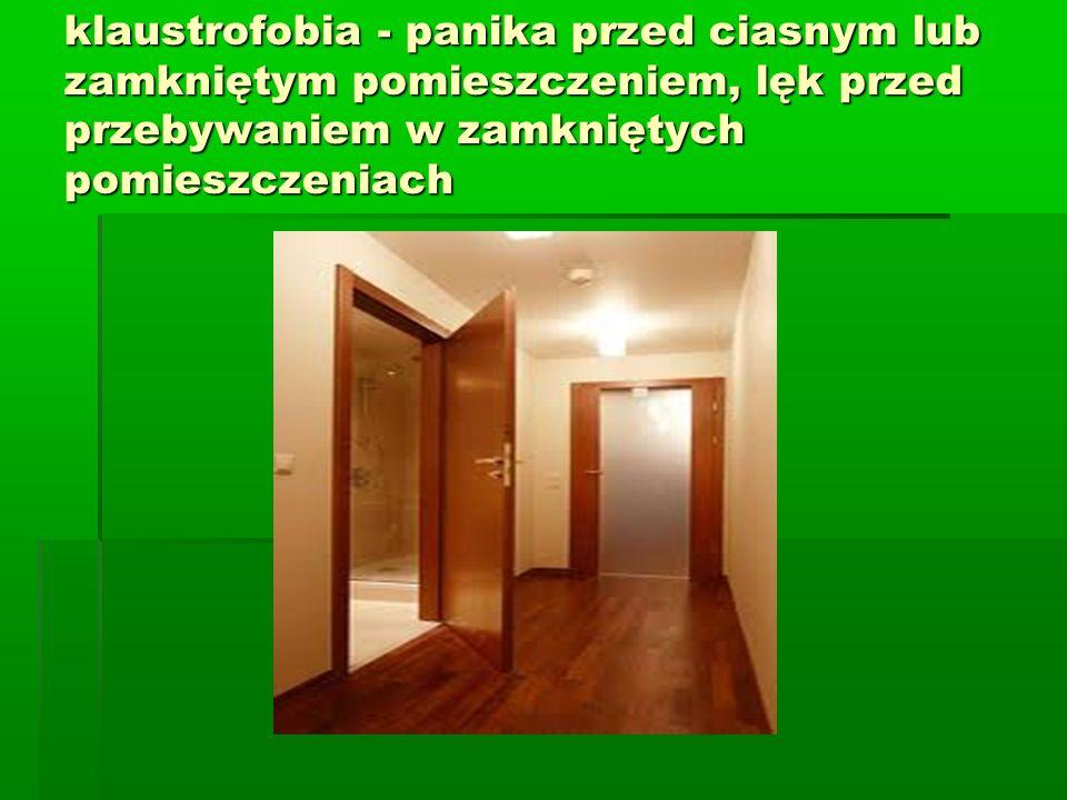 klaustrofobia - panika przed ciasnym lub zamkniętym pomieszczeniem, lęk przed przebywaniem w zamkniętych pomieszczeniach
