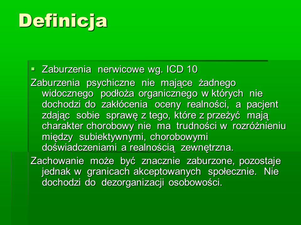 Definicja Zaburzenia nerwicowe wg. ICD 10