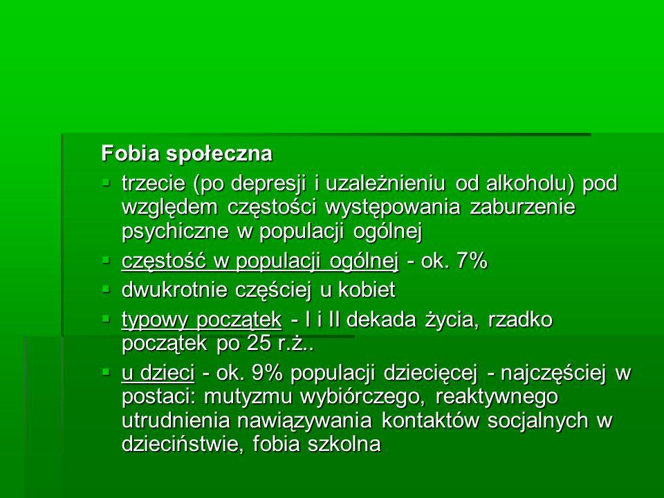 Fobia społeczna trzecie (po depresji i uzależnieniu od alkoholu) pod względem częstości występowania zaburzenie psychiczne w populacji ogólnej.