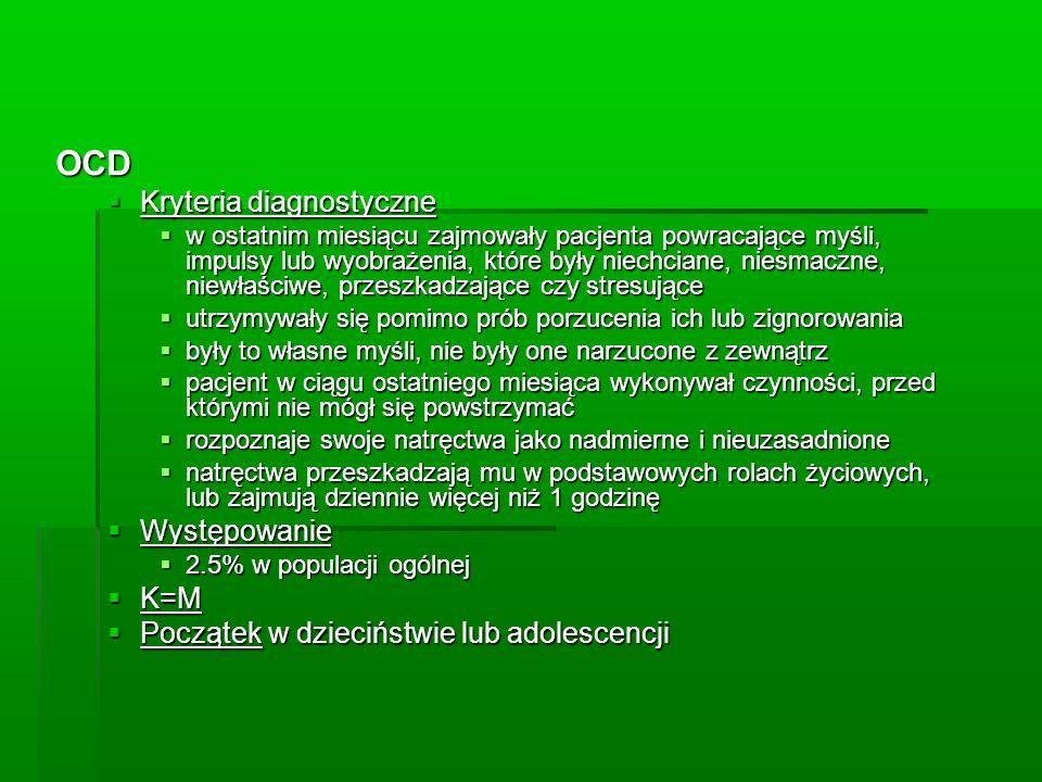 OCD Kryteria diagnostyczne Występowanie K=M