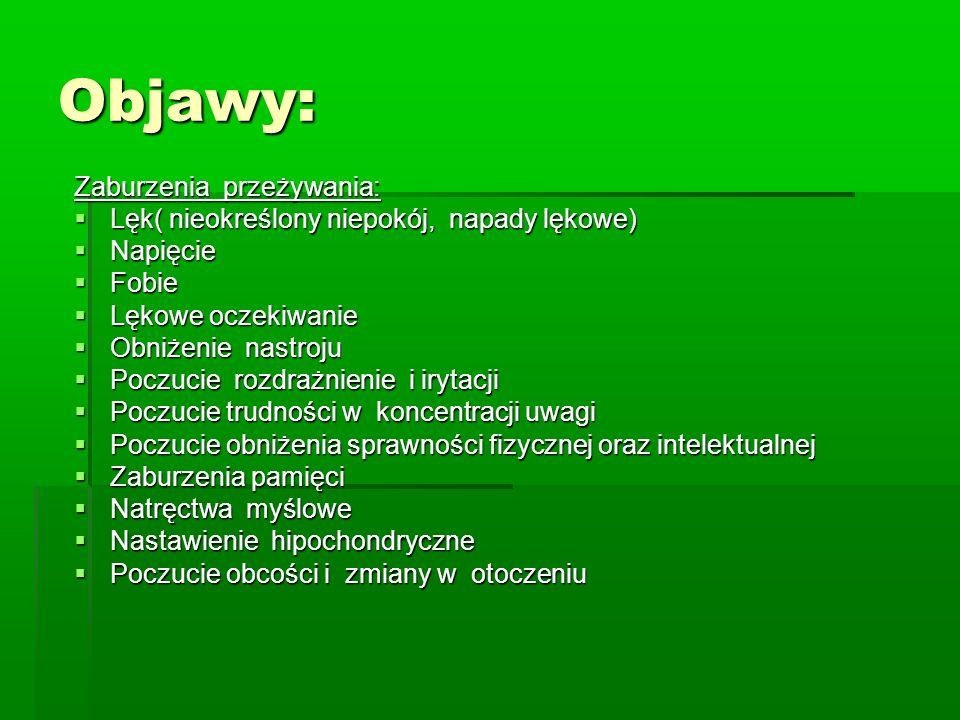 Objawy: Zaburzenia przeżywania: