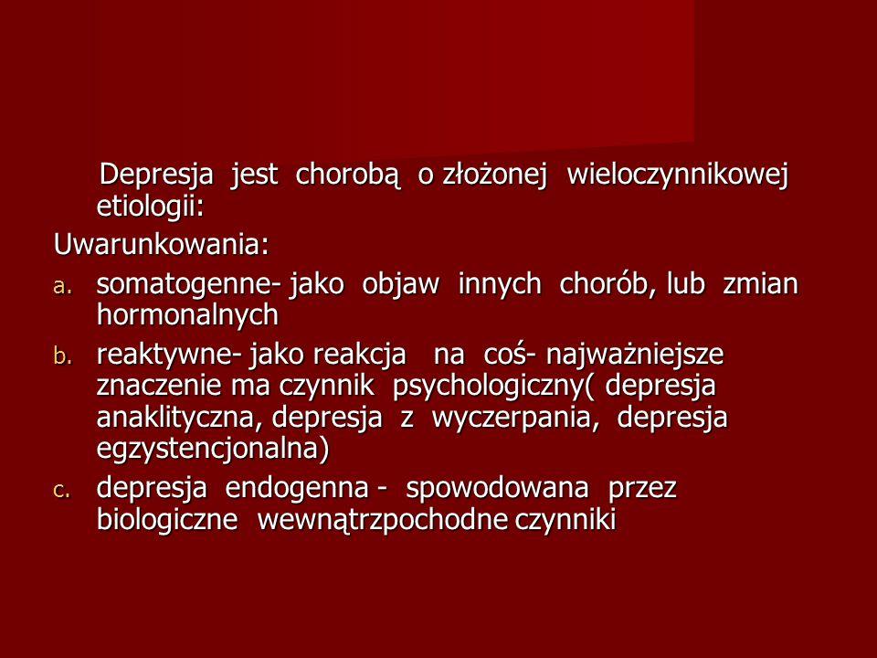 Depresja jest chorobą o złożonej wieloczynnikowej etiologii:
