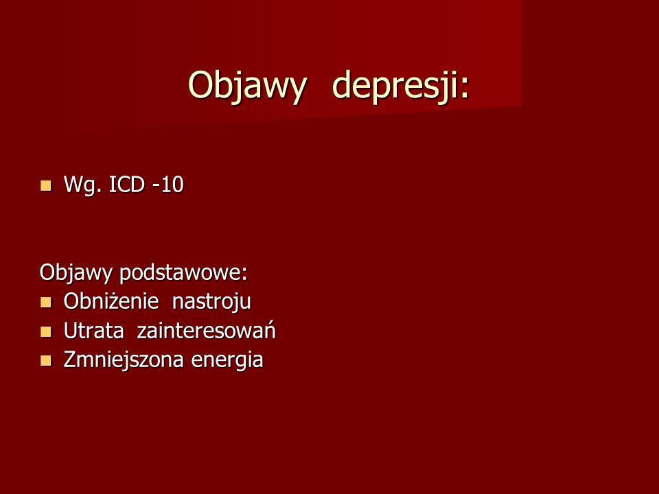 Objawy depresji: Wg. ICD -10 Objawy podstawowe: Obniżenie nastroju