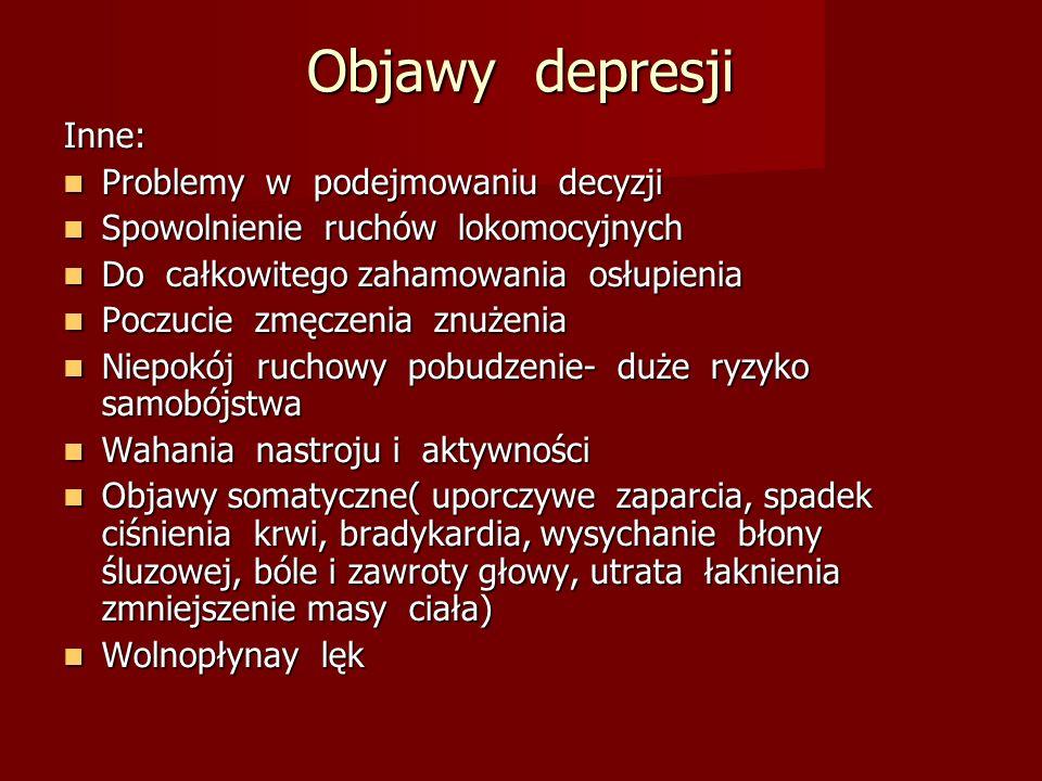 Objawy depresji Inne: Problemy w podejmowaniu decyzji