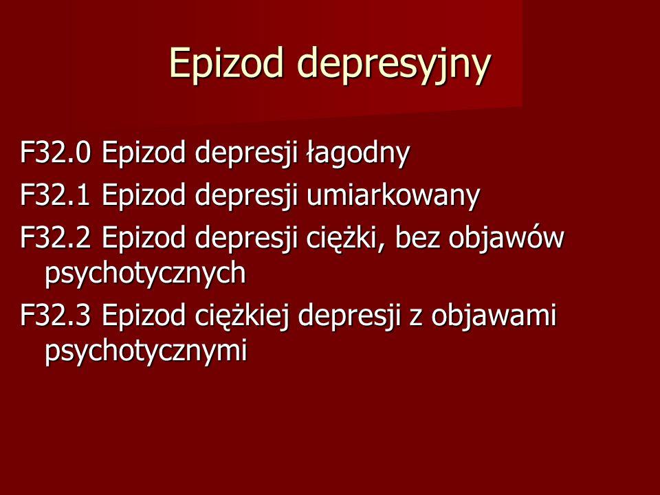 Epizod depresyjny F32.0 Epizod depresji łagodny
