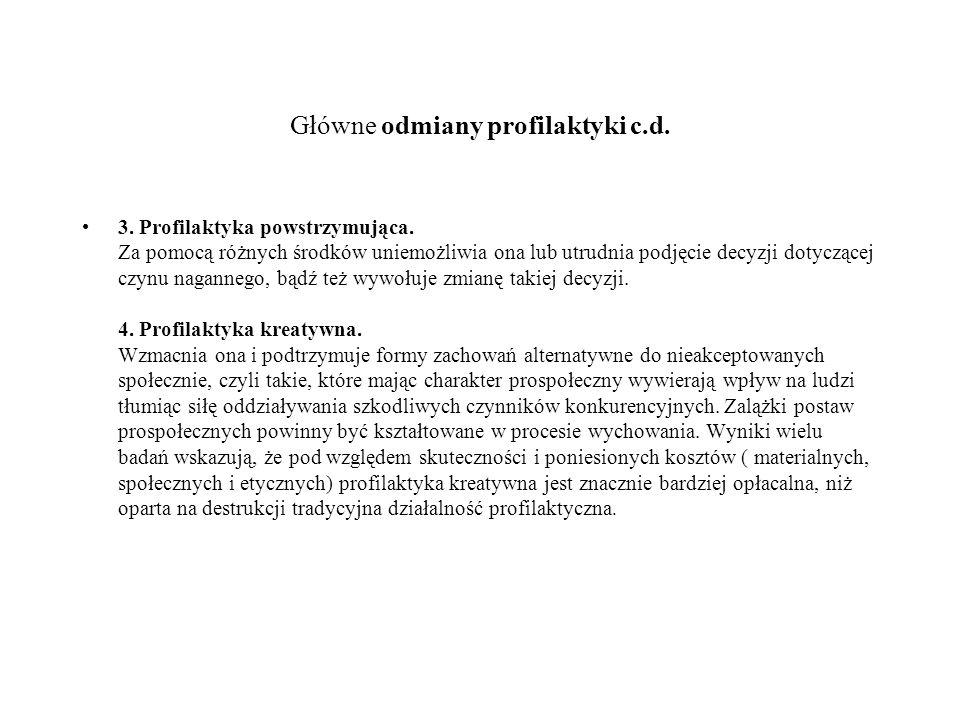 Główne odmiany profilaktyki c.d.