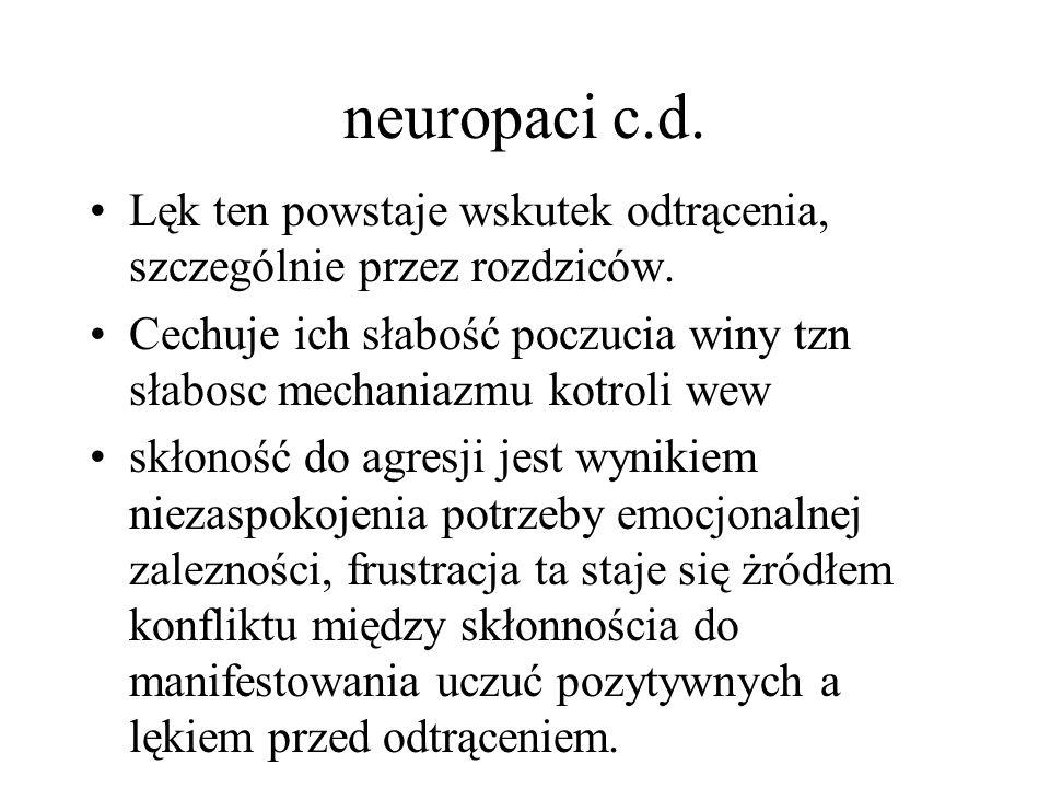 neuropaci c.d. Lęk ten powstaje wskutek odtrącenia, szczególnie przez rozdziców.