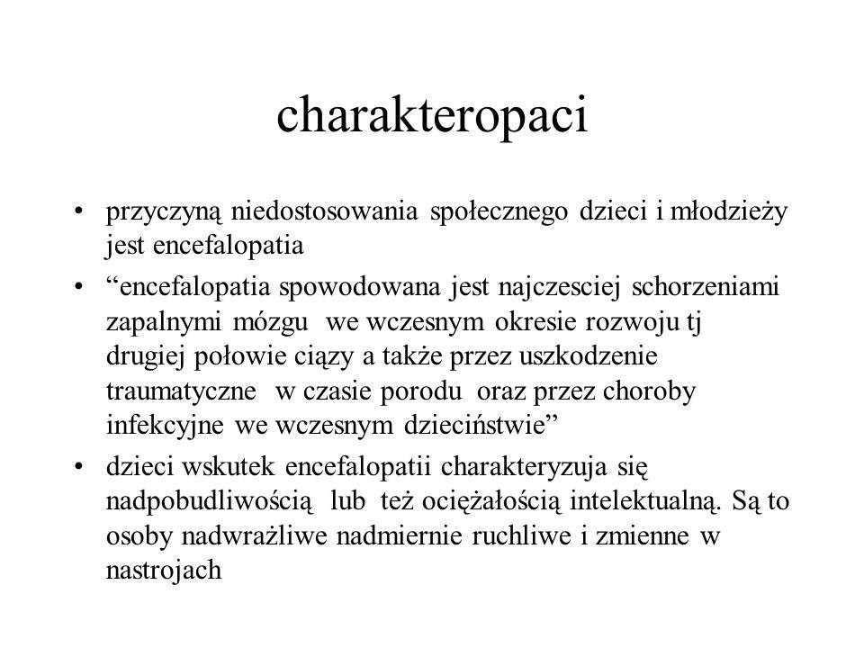 charakteropaci przyczyną niedostosowania społecznego dzieci i młodzieży jest encefalopatia.