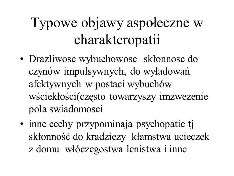 Typowe objawy aspołeczne w charakteropatii