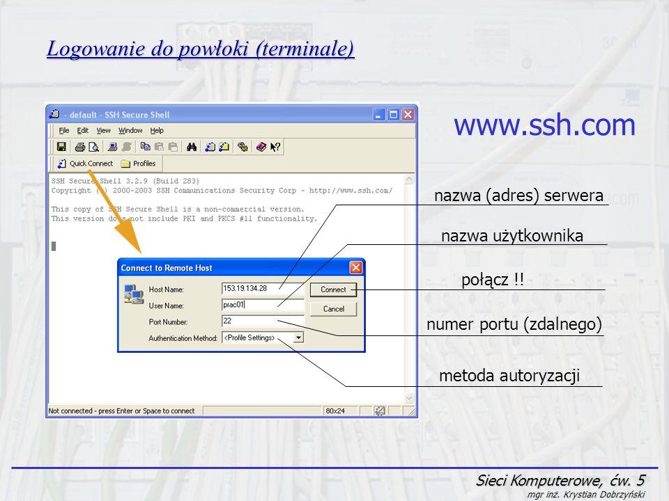 www.ssh.com Logowanie do powłoki (terminale) nazwa (adres) serwera