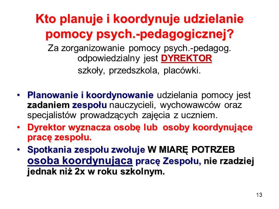 Kto planuje i koordynuje udzielanie pomocy psych.-pedagogicznej