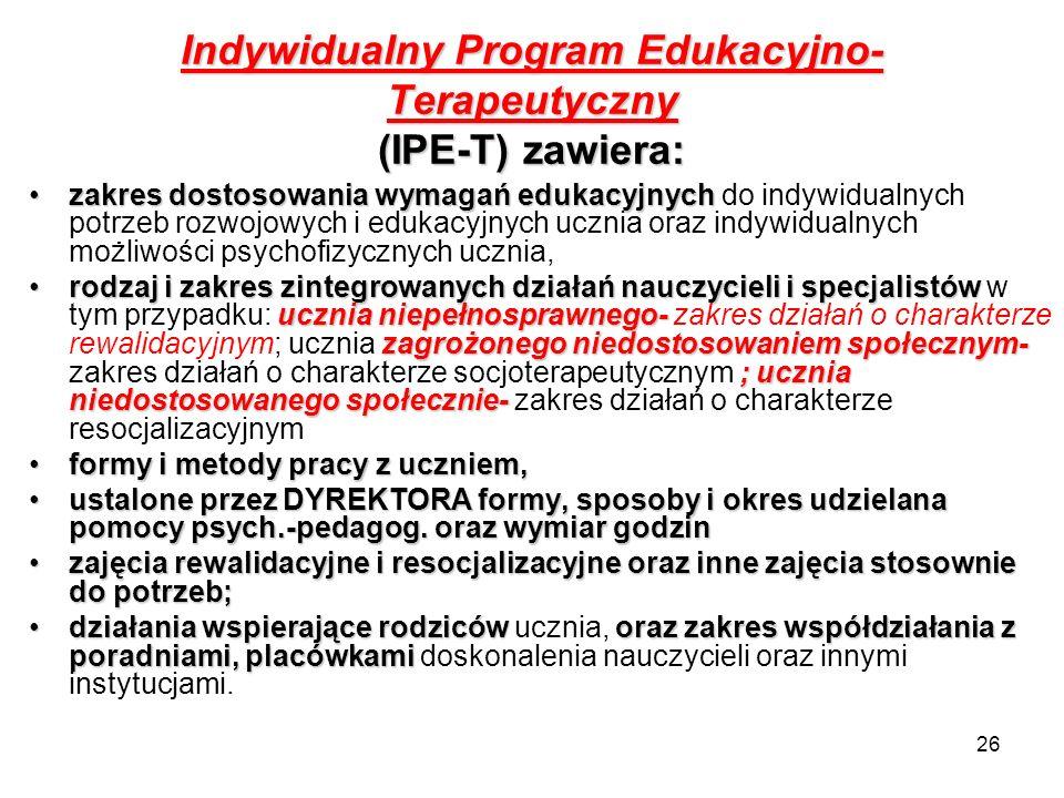 Indywidualny Program Edukacyjno-Terapeutyczny (IPE-T) zawiera: