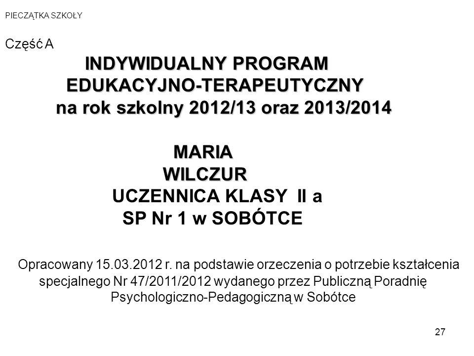 WILCZUR UCZENNICA KLASY II a SP Nr 1 w SOBÓTCE