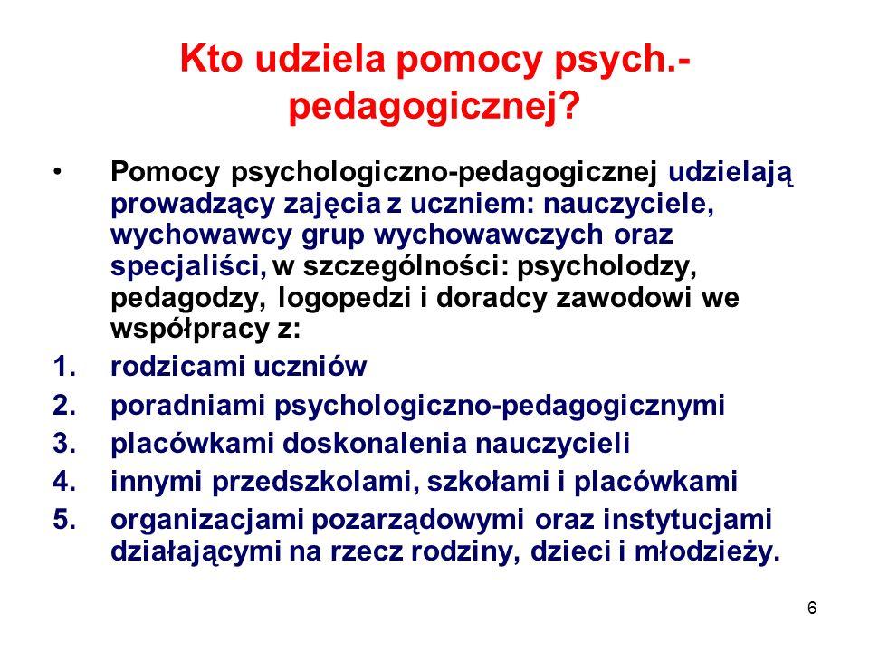 Kto udziela pomocy psych.-pedagogicznej