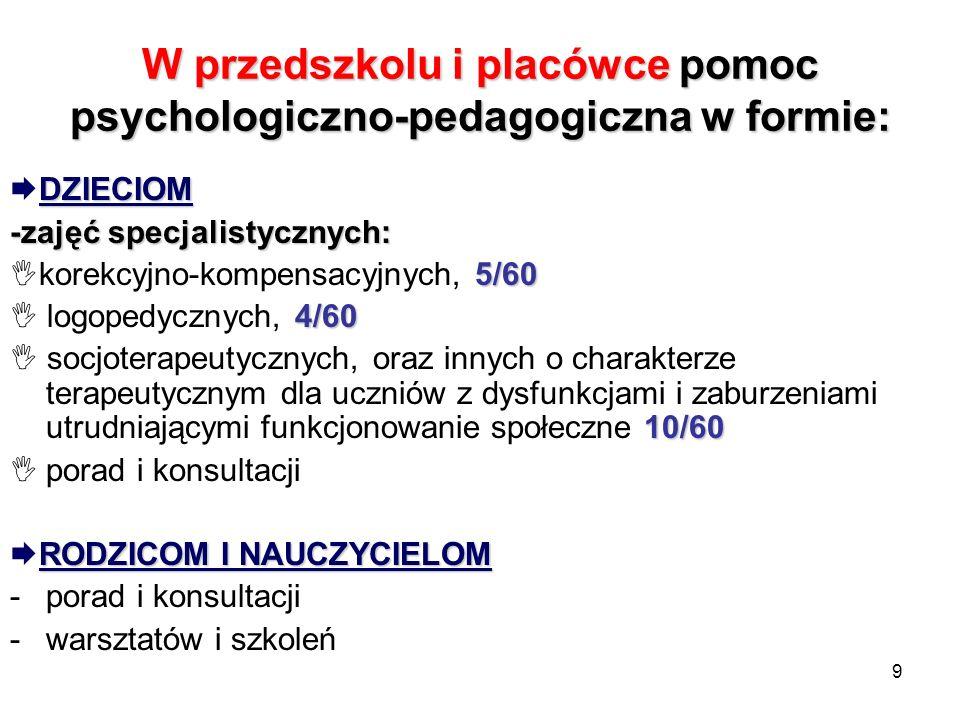 W przedszkolu i placówce pomoc psychologiczno-pedagogiczna w formie: