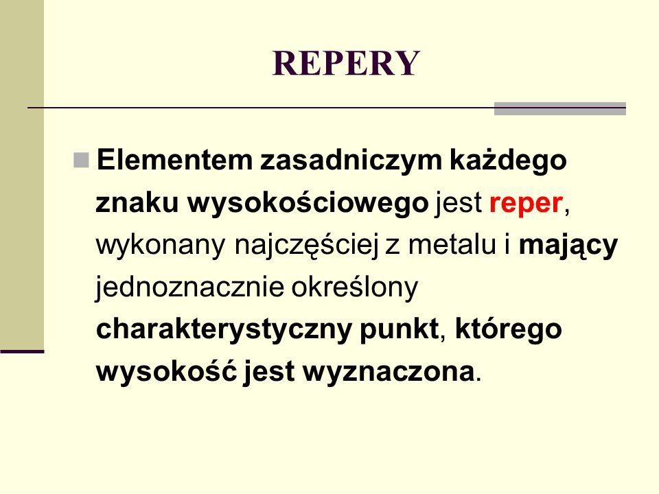 REPERY Elementem zasadniczym każdego znaku wysokościowego jest reper,
