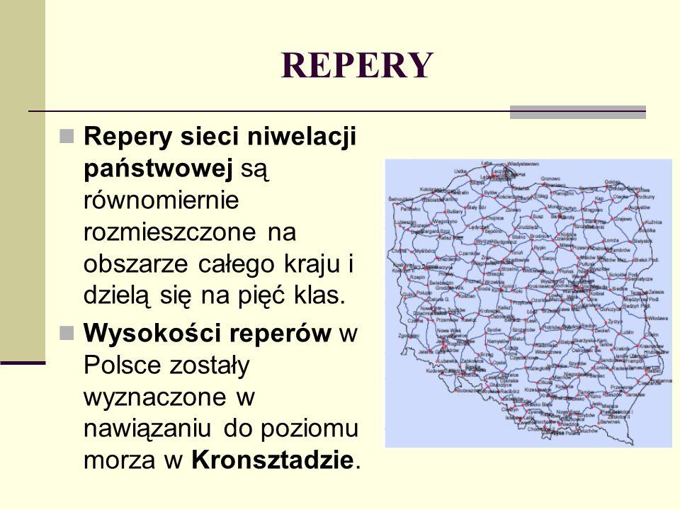 REPERY Repery sieci niwelacji państwowej są równomiernie rozmieszczone na obszarze całego kraju i dzielą się na pięć klas.